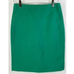 J. Crew size 0 green No. 2 Pencil skirt